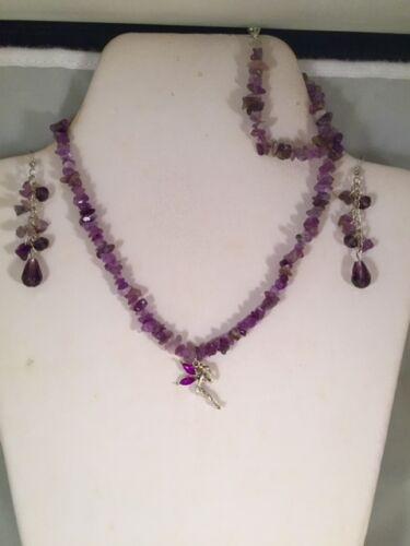 Bracelet /& Dangle Earring Set AUS SELLER Amethyst Angel//Fairy Charm Necklace