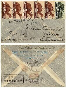 1276-Colonie-Eritrea-Striscia-5-pezzi-10-cent-su-busta-14-07-1937