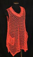 BoHo Hippie CHIC Coral Crochet Shark Bite Pockets Tunic Tank Shirt Top Blouse S