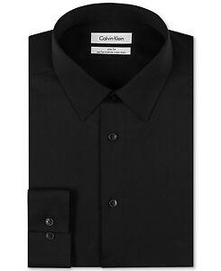 175-Calvin-Klein-hommes-coupe-slim-Noir-a-Manches-Longues-Bouton-Haut-Robe-Chemise-15-34-35