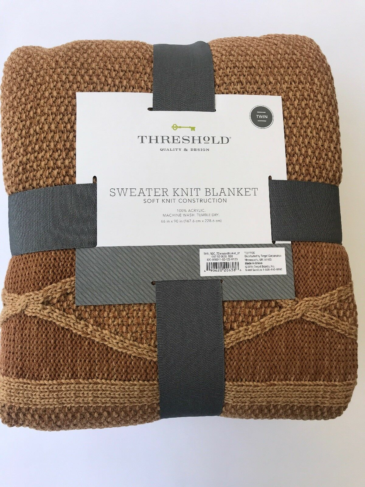 Threshold Twin Size Sweater Knit Blanket and Tan Bedding Blanket NEW  brown
