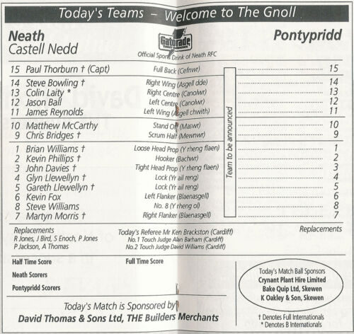 WALES HOME RUGBY PROGRAMMES 1992 WELSH AND ENGLISH CLUBS NEATH RFC