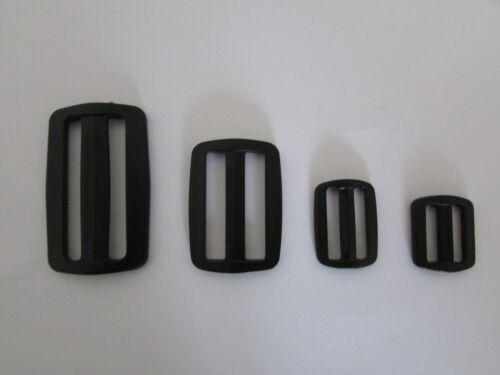 Plástico Negro Barra Deslizante//tamaños de clips de la hebilla 20mm//25mm//40mm//50mm//