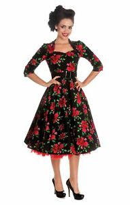 ea27b950c1b Hell Bunny Eternity 50 s High Backed Floral Roses Dress with Belt