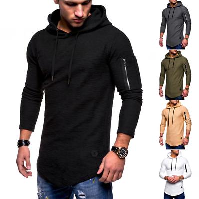 1f0304270 New Men's Slim Fit Hoodie Long Sleeve Muscle Tee T-shirt Casual Tops Blouse