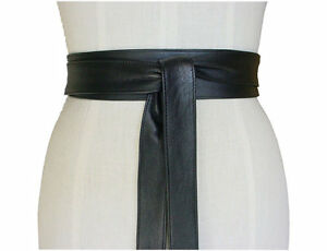 Genuine Lamb Leather obi belt Style sash tie belts wraparounds Waist Women Wide