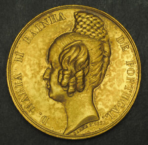 1833-Portugal-Dona-Maria-II-Beautiful-Bronze-Medal-by-Jacques-Jean-Barre