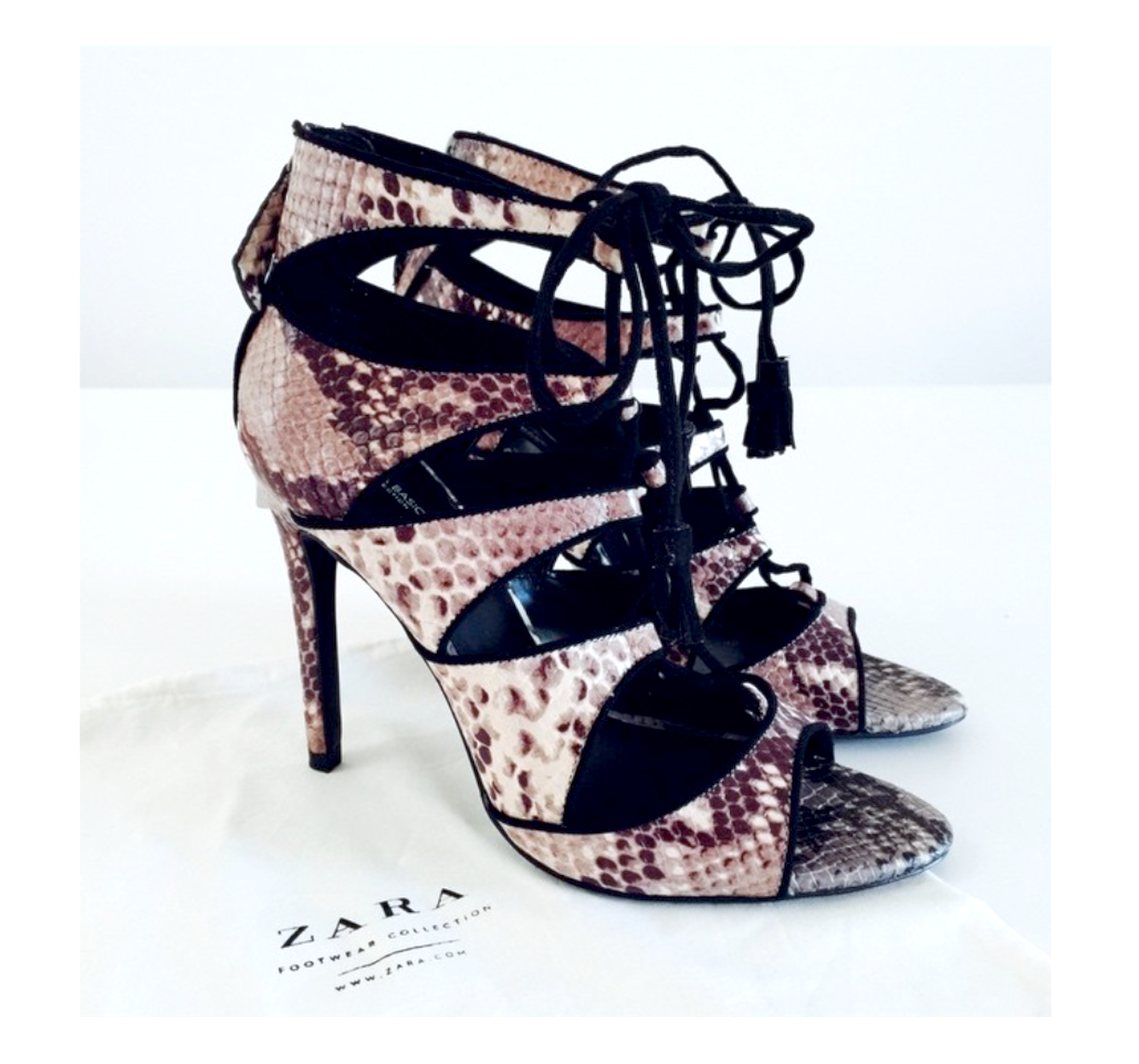 ZARA SNAKE PRINT LEATHER HIGH HEEL LACE UP SHOES SANDALS ANKLE BOOTS B NEW