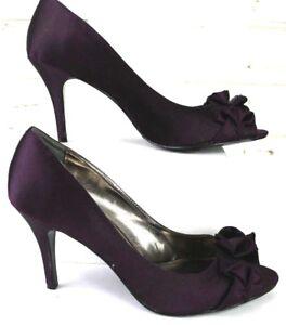 7b05cbb6635 Nina Womens 8.5 Purple Satin High Heels With Bow Open Toe