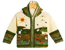 Strickjacke grün weiß, Gr.80*86, Kapuze, Bauernhof Tiere, Sonne, Handarbeit Peru