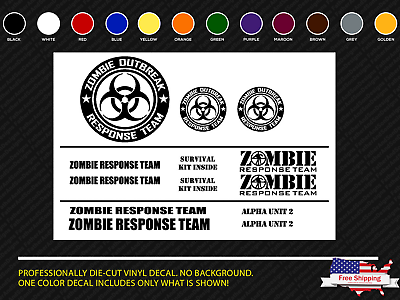 Zombie Outbreak Response Team Jeep Truck SUV Wrangler 13 piece Decal Set