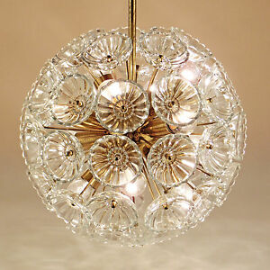 Vintage-Chandelier-Starburst-Light-Glass-Blossems-Brass-Blowball-Mid-Century