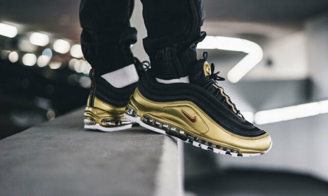 Air Max Nike 97 Og Qs Nero Oro Nuovo con Scatola AT5458 002 Taglie UK 6 7 8 9 10