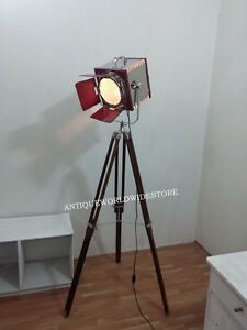 Collectible-Nautical-Lamp-Leather-Searchlight-WithTripod-Stand-Home-Decorative