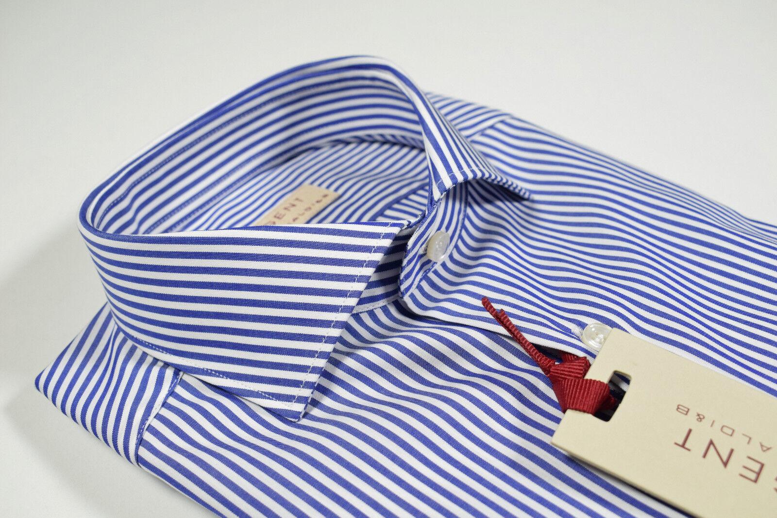 Camicia moda Regent by Pancaldi Slim Fit collo Francese puro cotone a righe Blu
