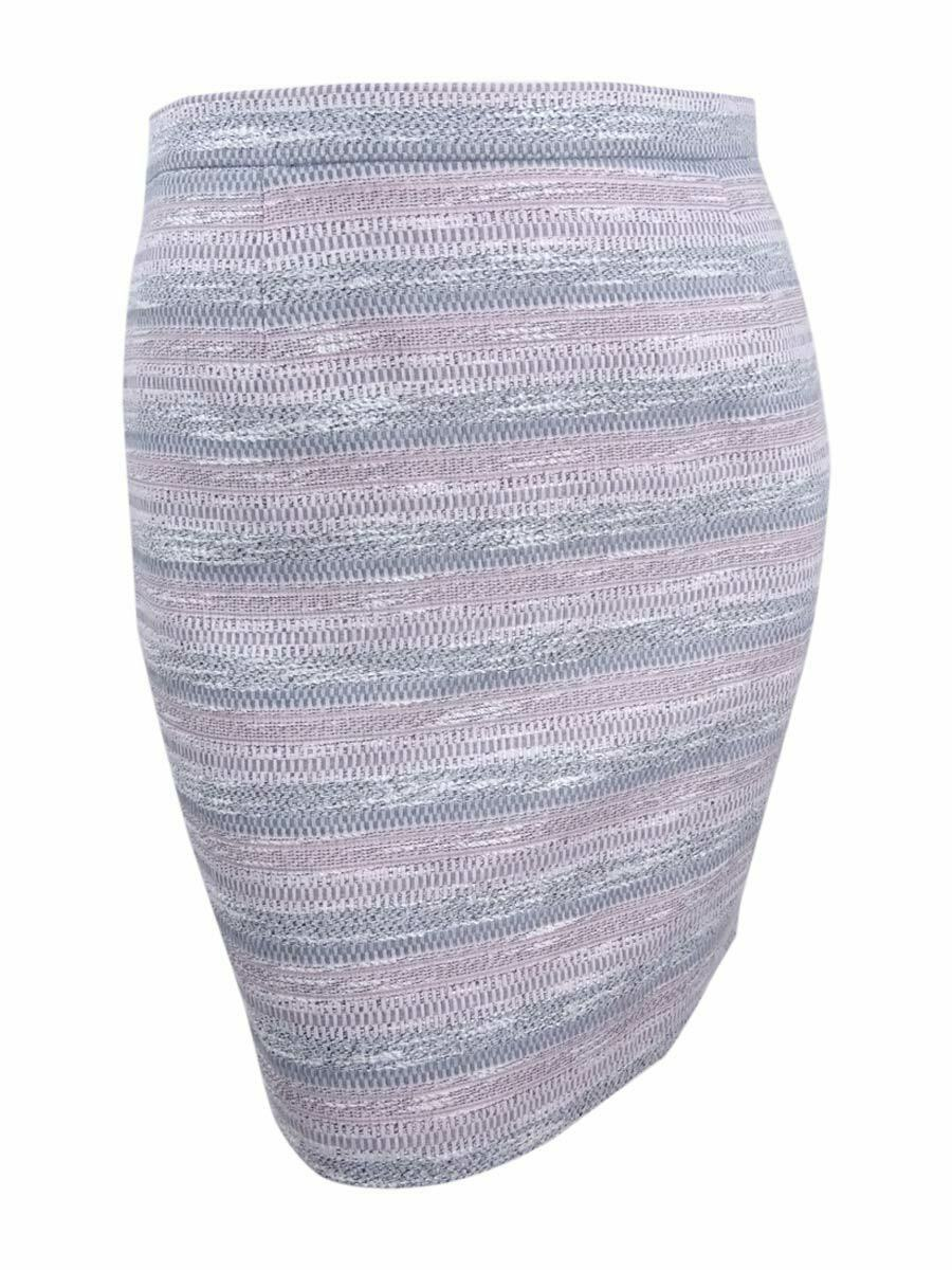Tahari Women's Petite Striped Tweed Pencil Skirt (12P, Pink Grey)