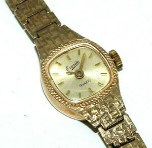 Ladies-womens-9ct-yellow-gold-vintage-Everite-wristwatch