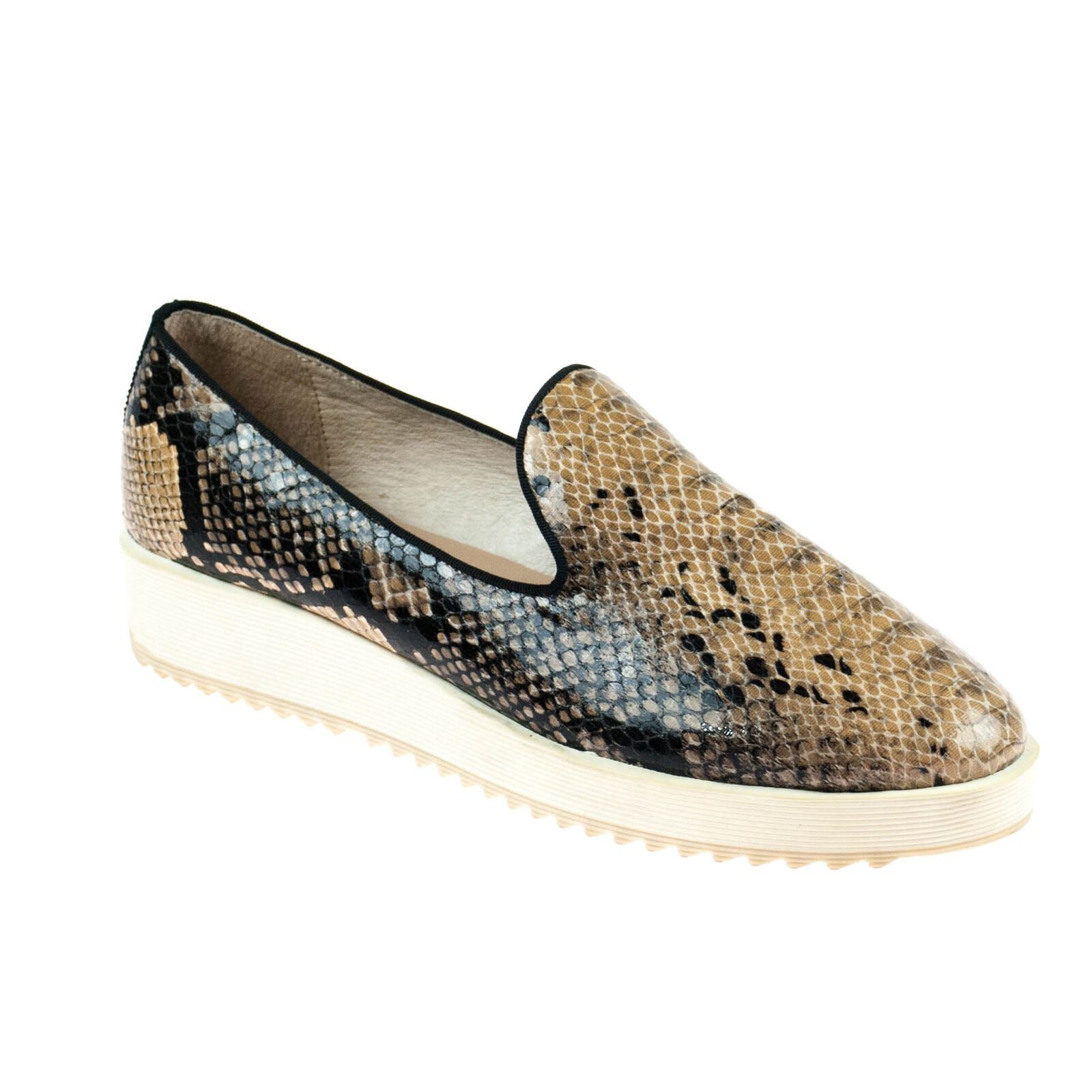 Bibi LOU Donna Scarpa Mezza Slipper Pelle Marrone Nero serpenti pattern dimensioni 41