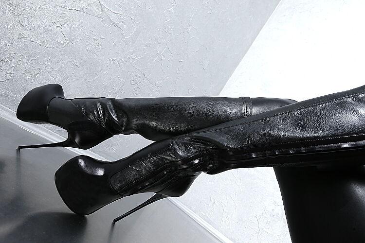 LEDER STIEFEL STIEFEL STIEFEL PLATEAU 1969 ITALY Damen Stretch Stiefel G70 Leather High Heels 37  795362