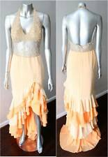 Beaded Ruffle Train Neon Orange Prom Cocktail Party Homecoming Gown Dress Sz Xs