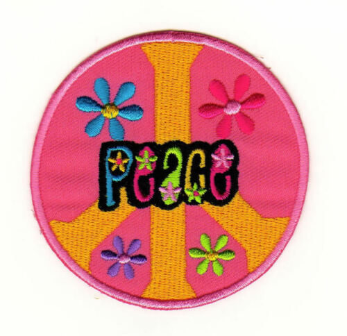 Ac90 Peace caracteres Patch perchas imagen hippie Patch paz flores de 7,2 x 7,2 cm