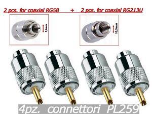 4PZ-CONNETTORI-PL259-PER-CAVO-COASSIALE-RG58-RG213-2Pz-RG58-2Pz-RG213