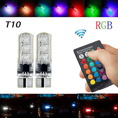 30~100X T10 W5W 194 168 501 LED Multi-color Red Green Blue flash CAR LIGHT BULBS