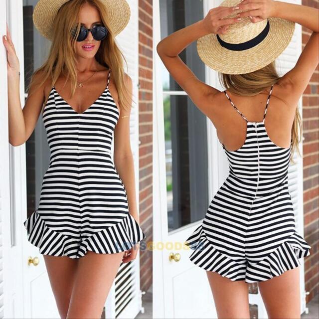 Women Ladies Clubwear V Neck Playsuit Bodycon Party Jumpsuit&Romper Trousers #L
