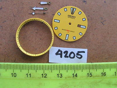 SEIKO DIVER 4205  YELLOW Dial Hands Minute Marker Ring SET NEW