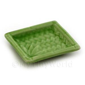 3x Ceramic 35mm X 40mm Dolls House Miniature Green Plates