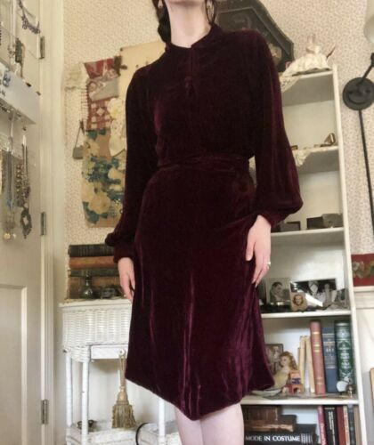 1930s Maroon Silk Velvet Dress