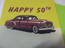 "Lovely ""Happy 50th"" Blank Birthday Greetings Card.Free P&P.Vintage Car Theme"