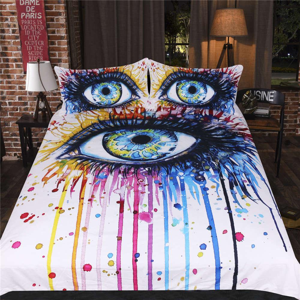 Colour Eyelashe Around Eye 3D Digital Print Bedding Duvet Quilt Cover Pillowcase