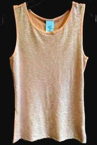 Women-039-s-Peach-Pink-Tank-Top-Blouse-by-H-I-P-Size-Small-Soft-Metallic-Look