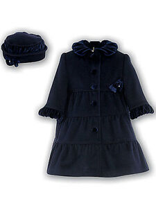 42fc6edc8 Sarah Louise Navy Ruffle Winter Dress Coat   Hat Size 4 Original ...