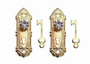 Image Is Loading Dollhouse Miniature Decorative Brass Door Knobs  With Crystal