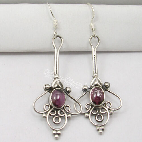 "ARTISAN 925 Sterling Silver CABOCHON GARNET LONG Dangle ETHNIC Earrings 2.1/"""