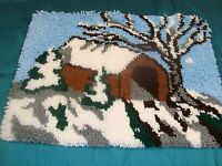 Completed Latch Hook Rug Covered Bridge Winter Landscape Finished 20 X 27