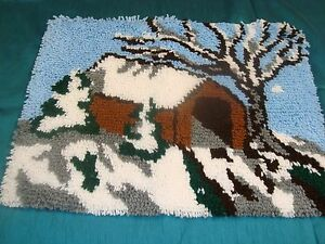 "NEW COMPLETED LATCH HOOK RUG COVERED BRIDGE WINTER LANDSCAPE Finished 20"" x 27"""