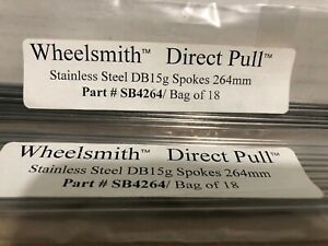 Wheelsmith DB15 Direct Pull Spokes Double Butted 280mm 15g Lot of 10 Black NEW