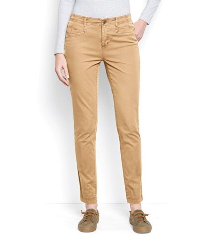 Ladies Stretch EVERYDAY GIRLFRIEND ANKLE Twill Chinos Tan Size 12 Mid Rise NWT