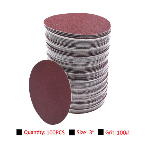 environ 7.62 cm ponçage disque 100 Grit Orbital Sander Pads Abrasifs Papier De Verre 100pcs 75 mm 3 in