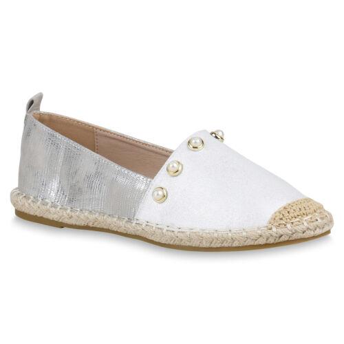 Damen Espadrilles Slippers Leder-Optik Slip Ons Zierperlen 820849 Schuhe