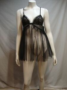 Victoria's Secrets Teddy Panty Set M Black Lace Mesh Nylon Sheer Bow Sislou V28 Teddies