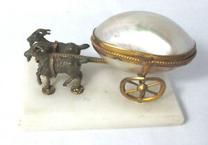 2-GOAT-pulling-MOP-EGG-on-Wheels-Thimble-Salt-or-Trinket-Original-Antique-c1800