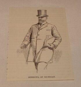 1894-Pequeno-Revista-Grabado-Julius-C-Burrows-Michigan