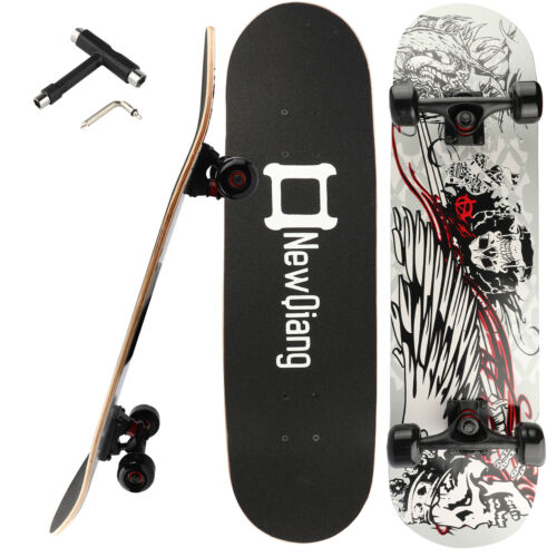 """31/""""X8/"""" Complete Skateboard 8Layer Maple Wood Skateboard Deck Double Kick Concave"""