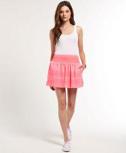 New Womens Superdry Broderie Shimmer Skirt Hot Pink