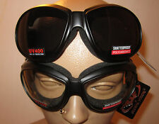 (2 GOGGLES) Motorcycle Riding Clear and Smoke Glasses Sunglasses New Burning Man