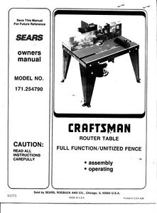 Details About 1992 Craftsman 171 254790 Router Table Owners Manual Instructions